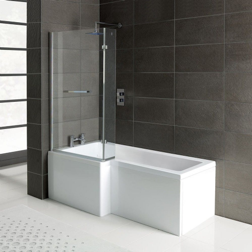 Matrix L-Shape 1500mm Shower Bath, Front Panel & Screen - Left Hand